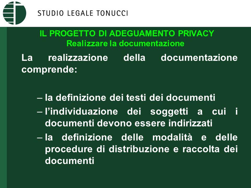 IL PROGETTO DI ADEGUAMENTO PRIVACY Realizzare la documentazione La realizzazione della documentazione comprende: –la definizione dei testi dei documen