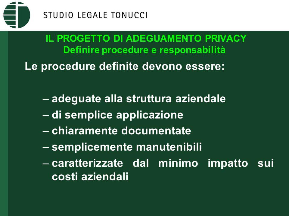 IL PROGETTO DI ADEGUAMENTO PRIVACY Definire procedure e responsabilità Le procedure definite devono essere: –adeguate alla struttura aziendale –di sem