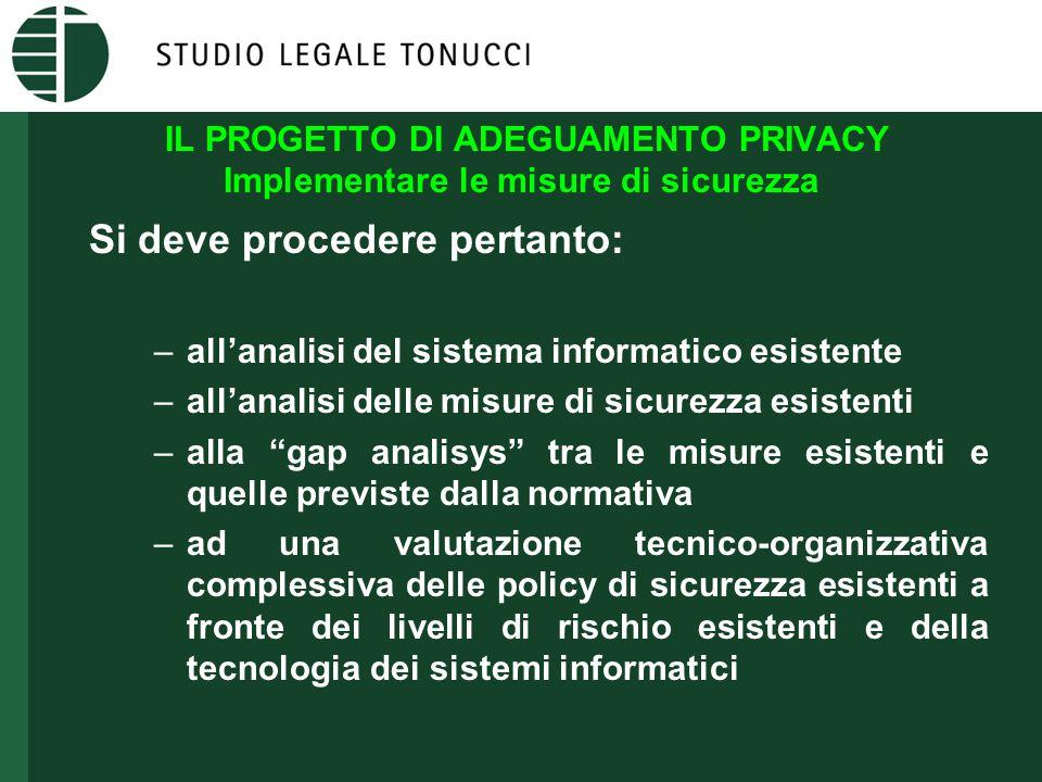IL PROGETTO DI ADEGUAMENTO PRIVACY Implementare le misure di sicurezza Si deve procedere pertanto: –all'analisi del sistema informatico esistente –all