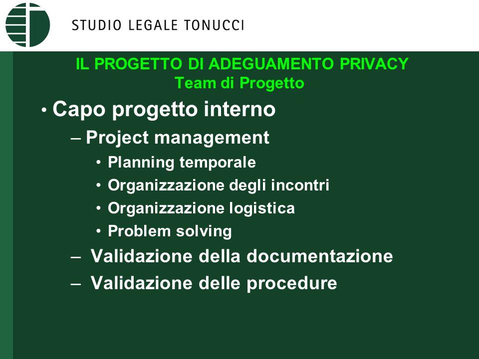 IL PROGETTO DI ADEGUAMENTO PRIVACY Team di Progetto • Capo progetto interno –Project management •Planning temporale •Organizzazione degli incontri •Or