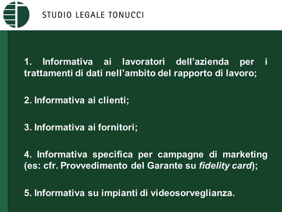 1. Informativa ai lavoratori dell'azienda per i trattamenti di dati nell'ambito del rapporto di lavoro; 2. Informativa ai clienti; 3. Informativa ai f