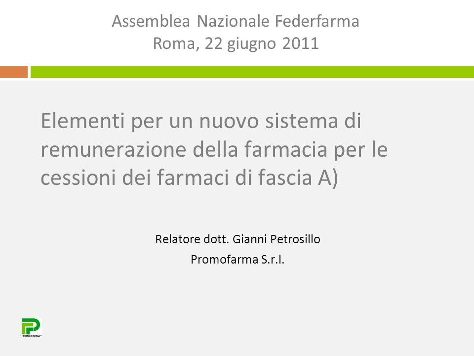 Elementi per un nuovo sistema di remunerazione della farmacia per le cessioni dei farmaci di fascia A) Relatore dott. Gianni Petrosillo Promofarma S.r