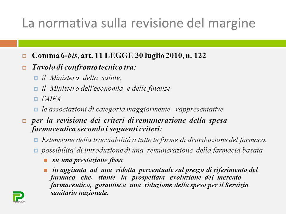 La normativa sulla revisione del margine  Comma 6-bis, art. 11 LEGGE 30 luglio 2010, n. 122  Tavolo di confronto tecnico tra:  il Ministero della s