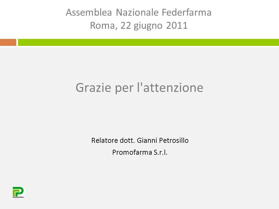Grazie per l attenzione Relatore dott. Gianni Petrosillo Promofarma S.r.l.