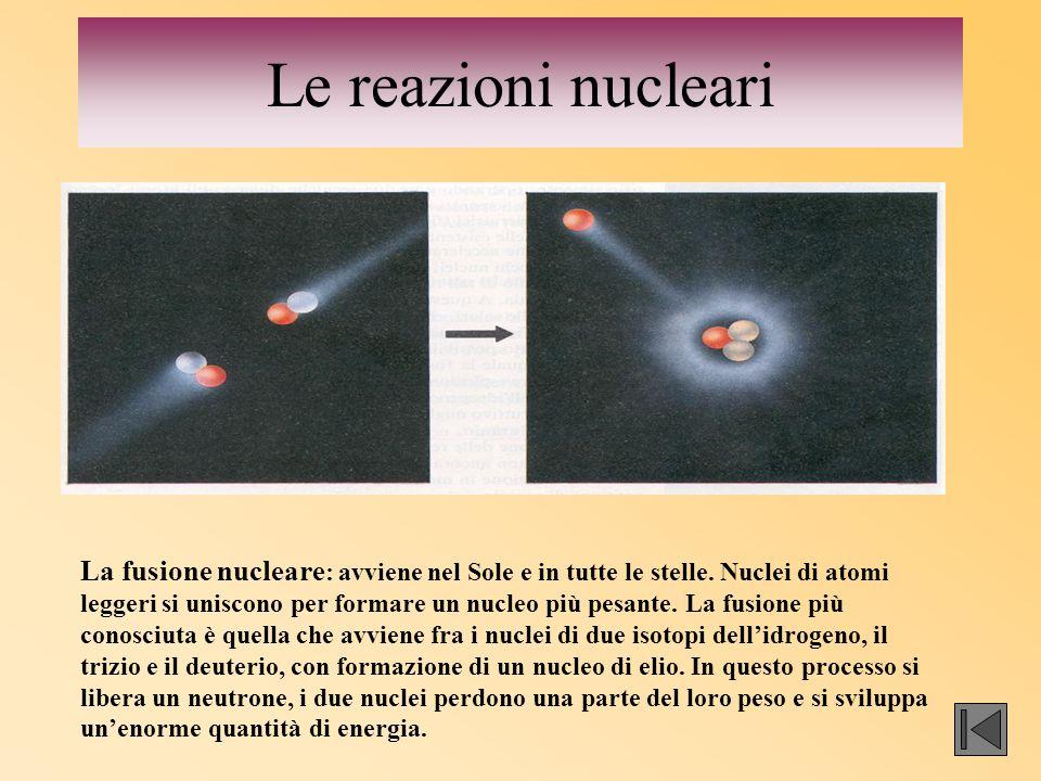 Le reazioni nucleari La fusione nucleare : avviene nel Sole e in tutte le stelle. Nuclei di atomi leggeri si uniscono per formare un nucleo più pesant