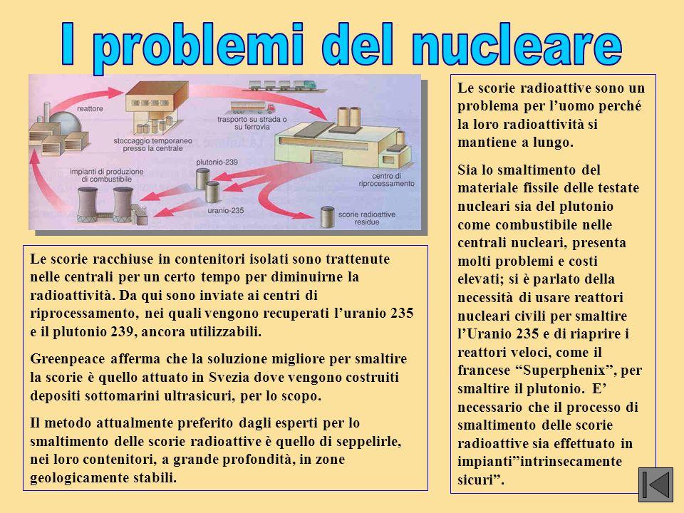 Le scorie radioattive sono un problema per l'uomo perché la loro radioattività si mantiene a lungo. Sia lo smaltimento del materiale fissile delle tes