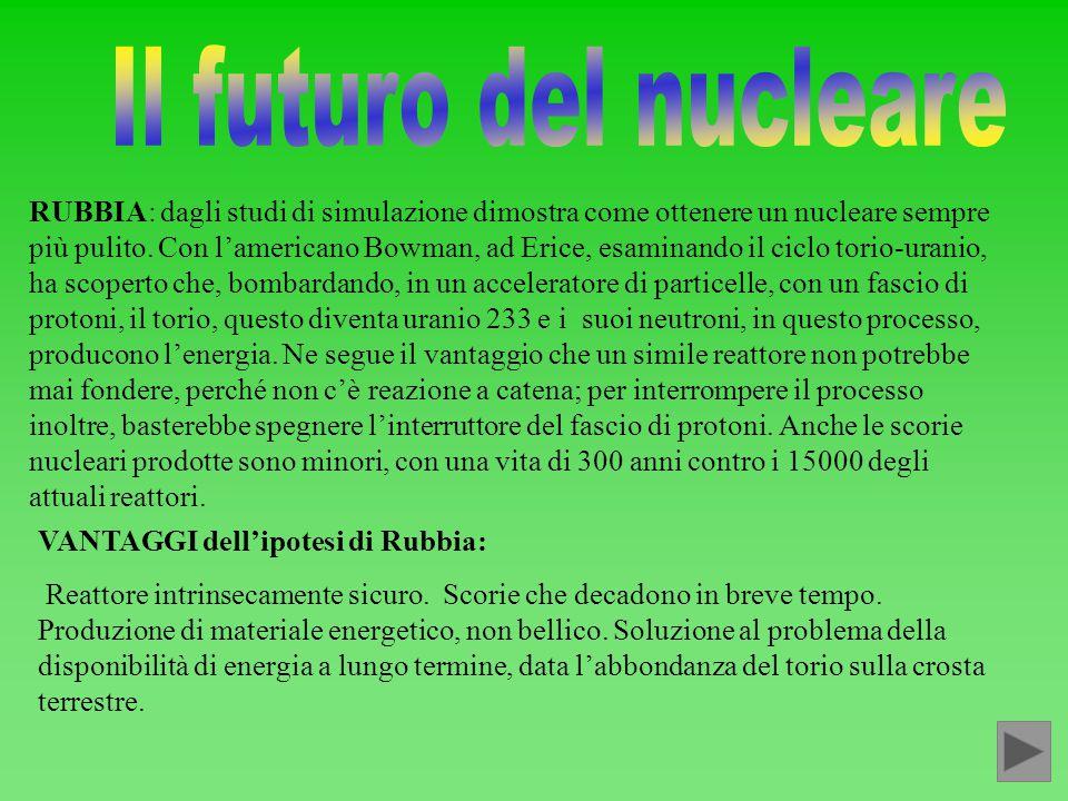 RUBBIA: dagli studi di simulazione dimostra come ottenere un nucleare sempre più pulito. Con l'americano Bowman, ad Erice, esaminando il ciclo torio-u