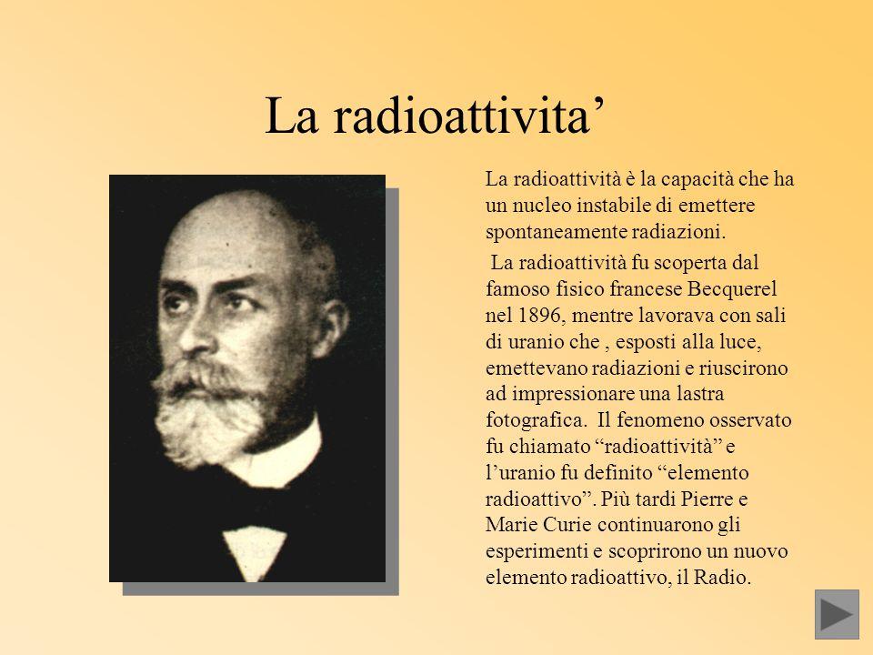 La radioattivita' La radioattività è la capacità che ha un nucleo instabile di emettere spontaneamente radiazioni. La radioattività fu scoperta dal fa