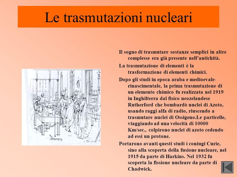 Le trasmutazioni nucleari Il sogno di trasmutare sostanze semplici in altre complesse era già presente nell'antichità. La trasmutazione di elementi è