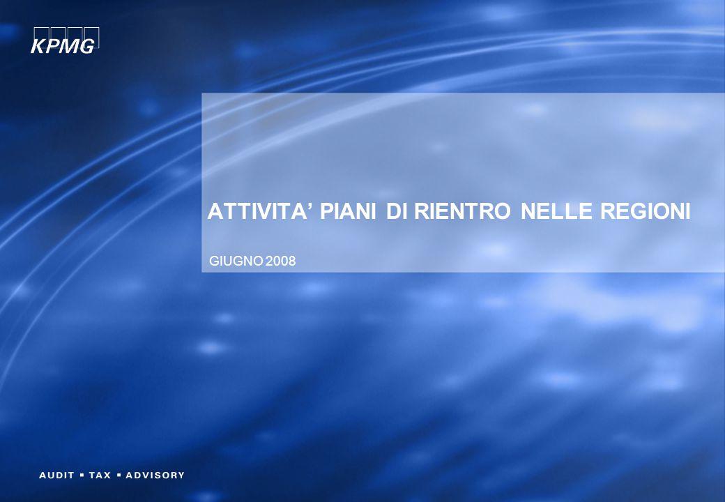 ATTIVITA' PIANI DI RIENTRO NELLE REGIONI GIUGNO 2008