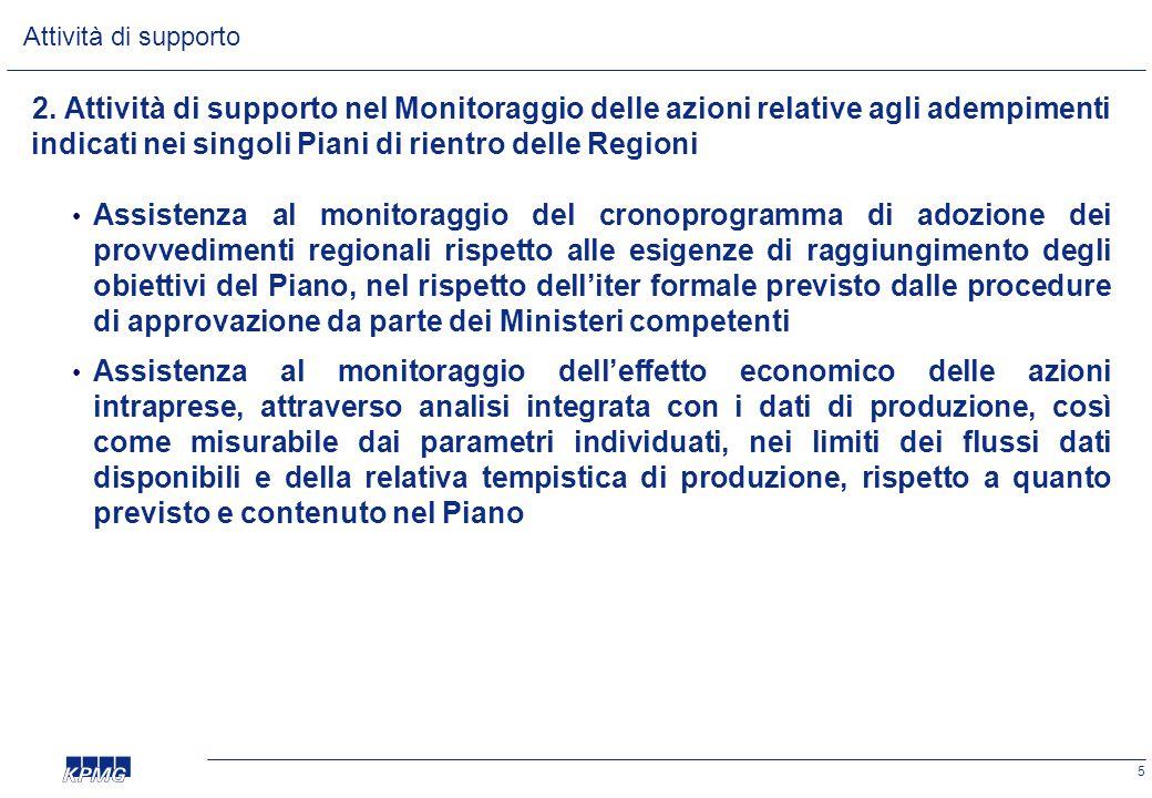 5 2. Attività di supporto nel Monitoraggio delle azioni relative agli adempimenti indicati nei singoli Piani di rientro delle Regioni • Assistenza al