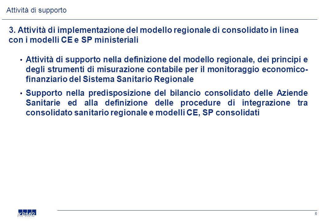 6 3. Attività di implementazione del modello regionale di consolidato in linea con i modelli CE e SP ministeriali • Attività di supporto nella definiz