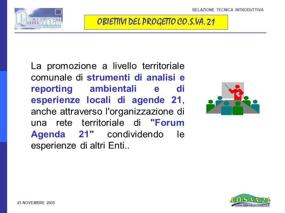 25 NOVEMBRE 2005 OBIETTIVI DEL PROGETTO CO.S.VA.