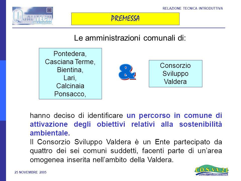 25 NOVEMBRE 2005 PREMESSA RELAZIONE TECNICA INTRODUTTIVA Pontedera, Casciana Terme, Bientina, Lari, Calcinaia Ponsacco, hanno deciso di identificare un percorso in comune di attivazione degli obiettivi relativi alla sostenibilità ambientale.
