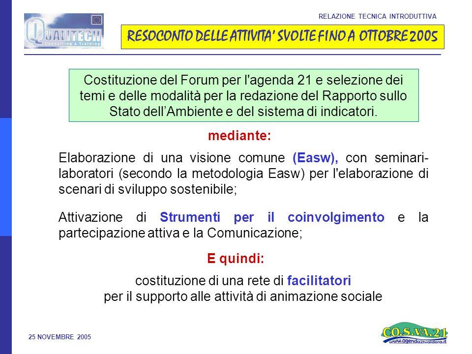 25 NOVEMBRE 2005 RESOCONTO DELLE ATTIVITA' SVOLTE FINO A OTTOBRE 2005 RELAZIONE TECNICA INTRODUTTIVA Costituzione del Forum per l agenda 21 e selezione dei temi e delle modalità per la redazione del Rapporto sullo Stato dell'Ambiente e del sistema di indicatori.