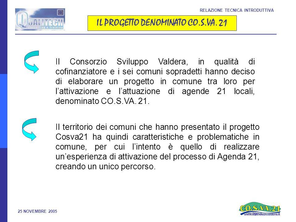 25 NOVEMBRE 2005 IL PROGETTO DENOMINATO CO.S.VA.