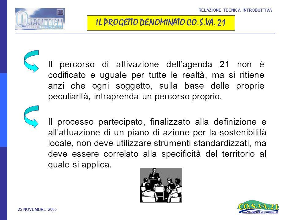 25 NOVEMBRE 2005 SCHEMA DETTAGLIATO DEL PROGETTO RELAZIONE TECNICA INTRODUTTIVA MESSA A PUNTO DEGLI INDICATORI Elaborazione degli indicatori previsti dal progetto European Common Indicators insieme con il modello DPSIR (Drivers, Pressure, State, Impact, Response) saranno inclusi all interno dello schema della RSA INTEGRAZIONE DI INDICATORI SOCIO- ECONOMICI ED ISTITUZIONALI Selezione e realizzazione di indicatori - sulla base di dati già disponibili - orientata alla costruzione di indicatori integrati economico/ambientali rappresentativi degli obiettivi di equità e coesione sociale, di benessere economico, di pari opportunità