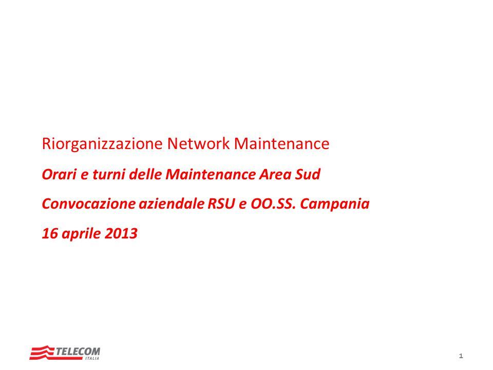 Riorganizzazione Network Maintenance Orari e turni delle Maintenance Area Sud Convocazione aziendale RSU e OO.SS. Campania 16 aprile 2013 Roma, Marzo