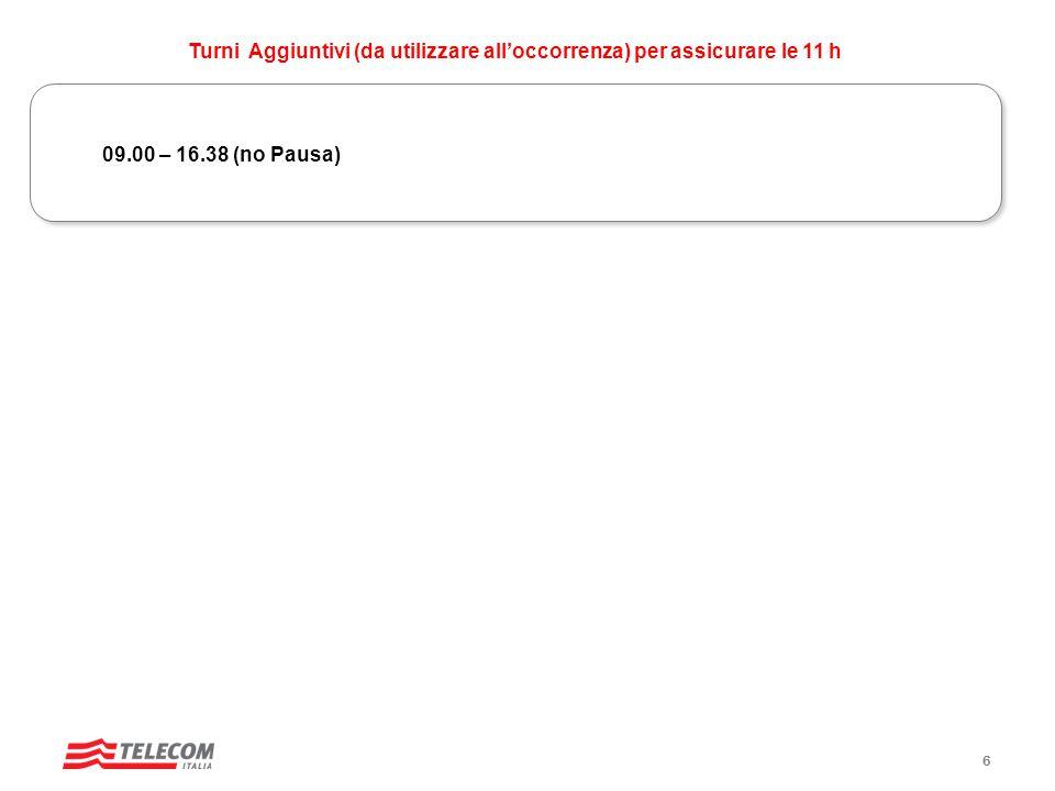 09.00 – 16.38 (no Pausa) Turni Aggiuntivi (da utilizzare all'occorrenza) per assicurare le 11 h 6