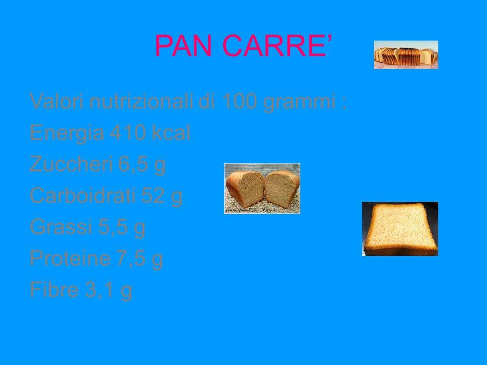FOCACCIA Ingredienti: farina, acqua, olio extravergine di oliva, lievito e sale Una singola porzione raggiunge 350-400 calorie, 30-50% più del pane