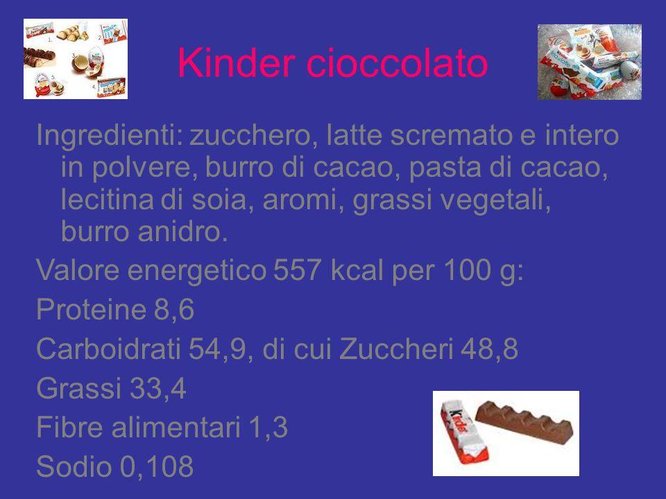 Kinder cioccolato Ingredienti: zucchero, latte scremato e intero in polvere, burro di cacao, pasta di cacao, lecitina di soia, aromi, grassi vegetali,