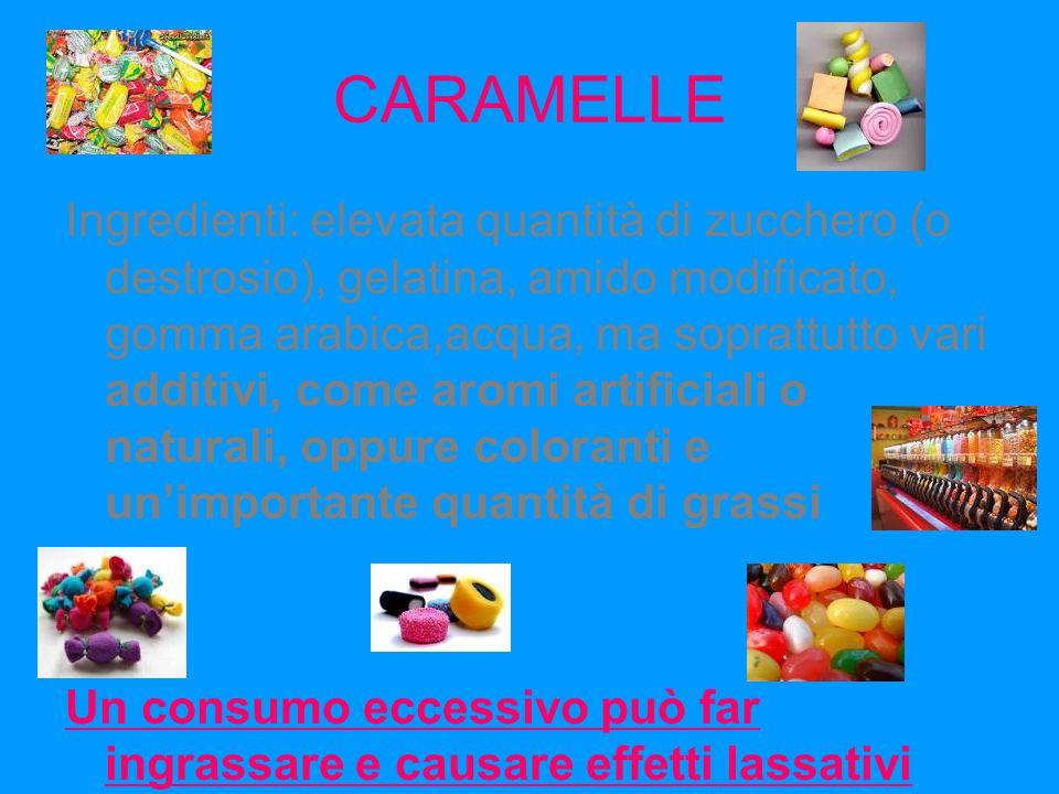 CARAMELLE Ingredienti: elevata quantità di zucchero (o destrosio), gelatina, amido modificato, gomma arabica,acqua, ma soprattutto vari additivi, come