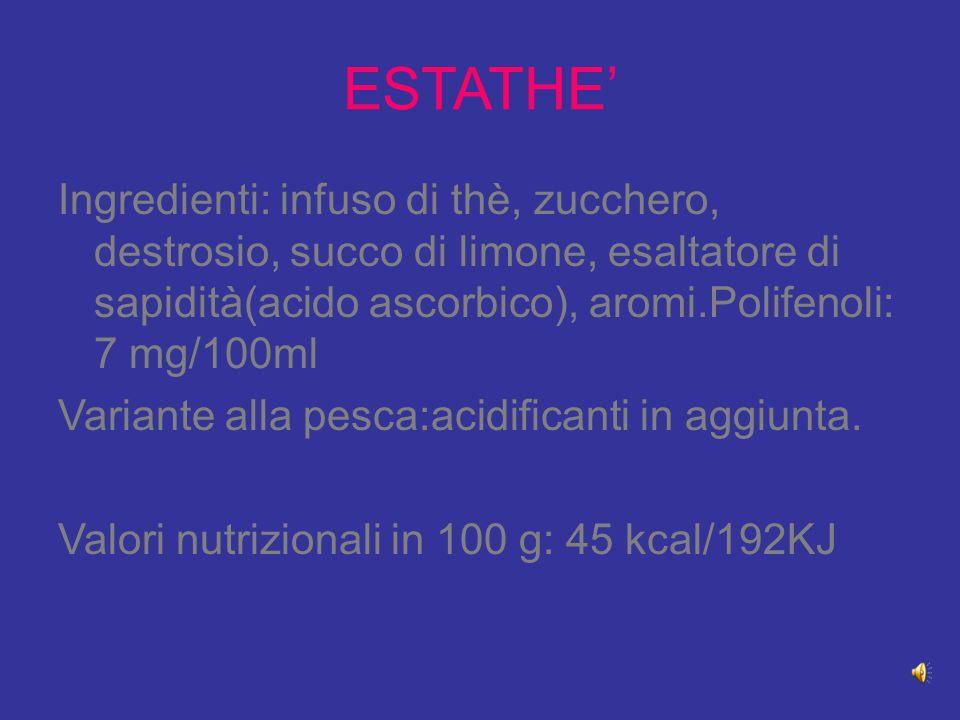 ESTATHE' Ingredienti: infuso di thè, zucchero, destrosio, succo di limone, esaltatore di sapidità(acido ascorbico), aromi.Polifenoli: 7 mg/100ml Varia