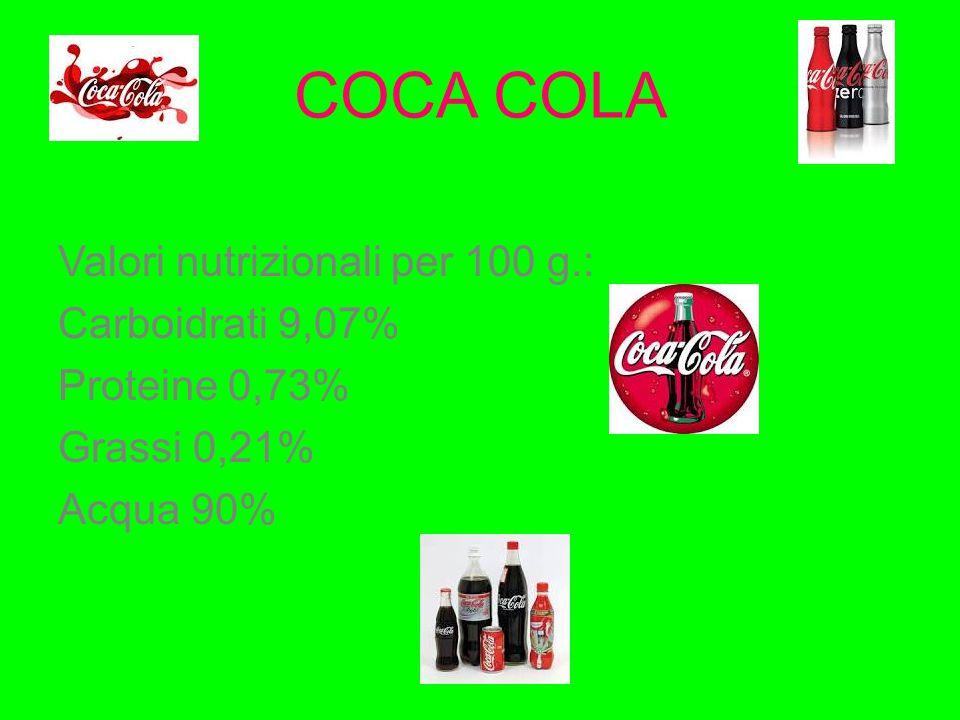 COCA COLA Valori nutrizionali per 100 g.: Carboidrati 9,07% Proteine 0,73% Grassi 0,21% Acqua 90%