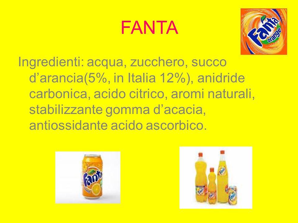 FANTA Ingredienti: acqua, zucchero, succo d'arancia(5%, in Italia 12%), anidride carbonica, acido citrico, aromi naturali, stabilizzante gomma d'acaci