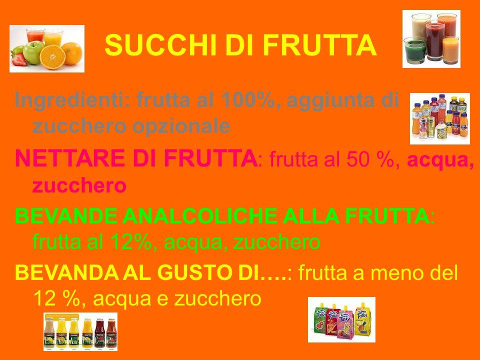 SUCCHI DI FRUTTA Ingredienti: frutta al 100%, aggiunta di zucchero opzionale NETTARE DI FRUTTA : frutta al 50 %, acqua, zucchero BEVANDE ANALCOLICHE A