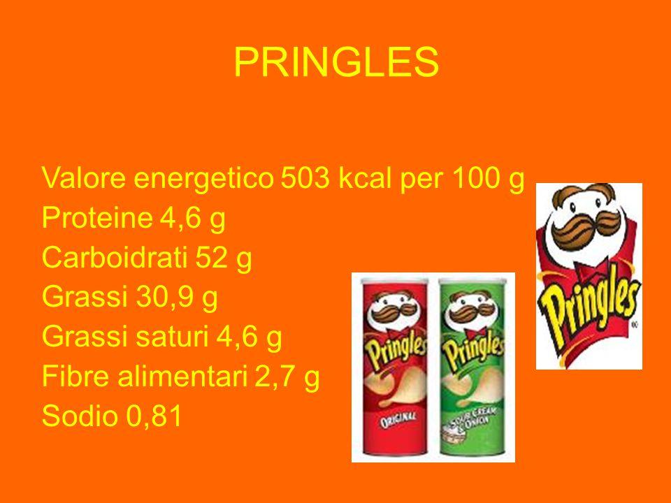 PRINGLES Valore energetico 503 kcal per 100 g Proteine 4,6 g Carboidrati 52 g Grassi 30,9 g Grassi saturi 4,6 g Fibre alimentari 2,7 g Sodio 0,81