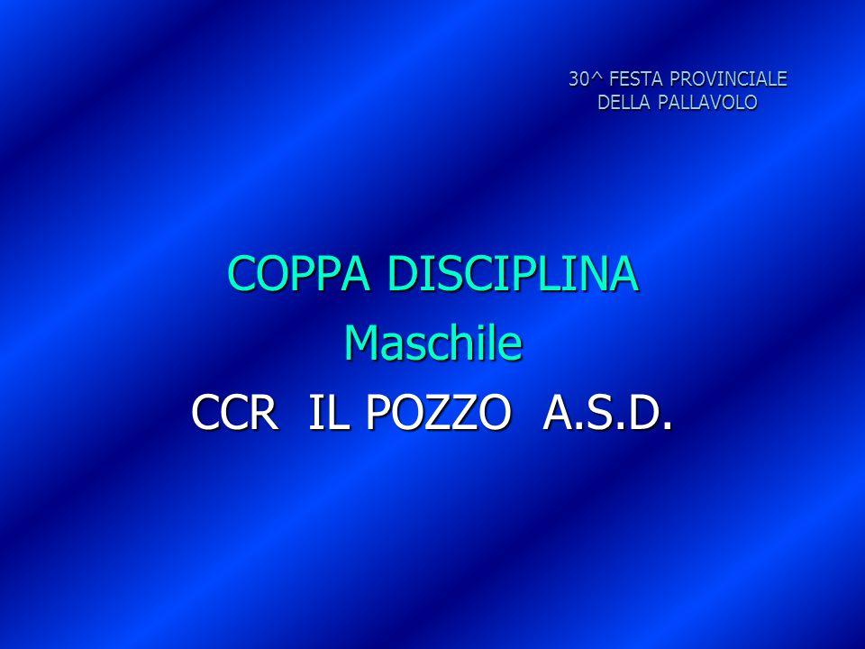 30^ FESTA PROVINCIALE DELLA PALLAVOLO COPPA DISCIPLINA Maschile CCR IL POZZO A.S.D.
