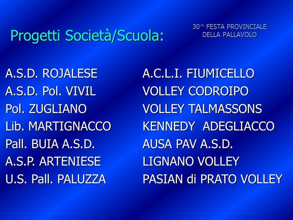 30^ FESTA PROVINCIALE DELLA PALLAVOLO Progetti Società/Scuola: A.S.D. ROJALESE A.S.D. Pol. VIVIL Pol. ZUGLIANO Lib. MARTIGNACCO Pall. BUIA A.S.D. A.S.