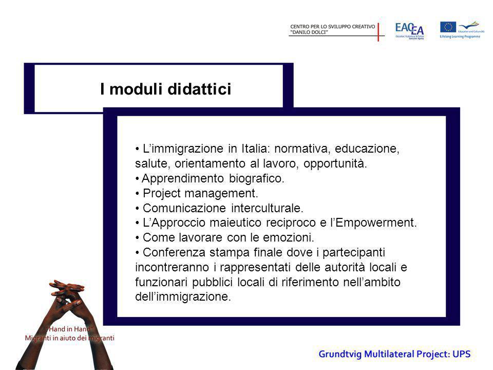 I moduli didattici • L'immigrazione in Italia: normativa, educazione, salute, orientamento al lavoro, opportunità. • Apprendimento biografico. • Proje