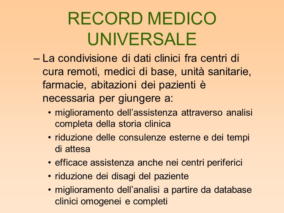 HL7 Patient Record Architecture –E' stato creato un insieme di specifiche per documenti clinici fino all'approvazione dello Health Level 7 (HL7) come standard ANSI nel 1997 –HL7 è iniziato come movimento bottom-up da parte dei medici ed è divenuto standard di fatto.