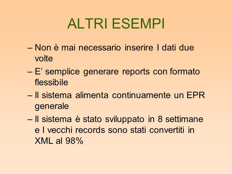 ALTRI ESEMPI –Non è mai necessario inserire I dati due volte –E' semplice generare reports con formato flessibile –Il sistema alimenta continuamente u