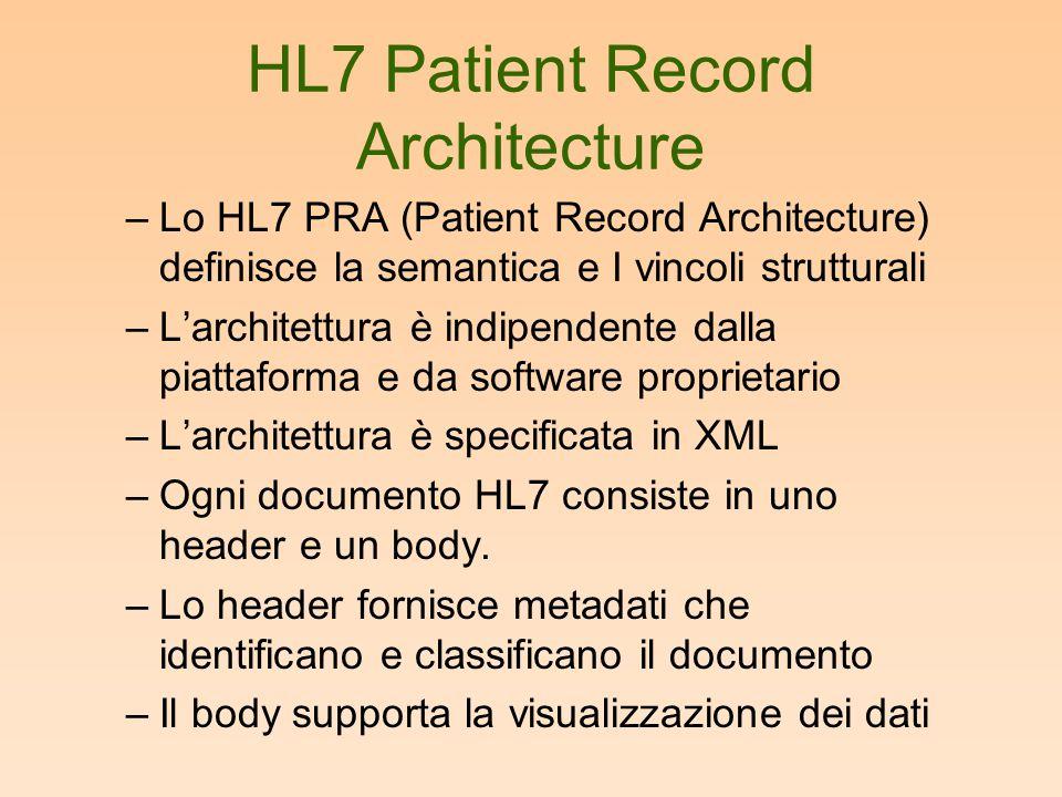 HL7 Patient Record Architecture –Lo HL7 PRA (Patient Record Architecture) definisce la semantica e I vincoli strutturali –L'architettura è indipendent