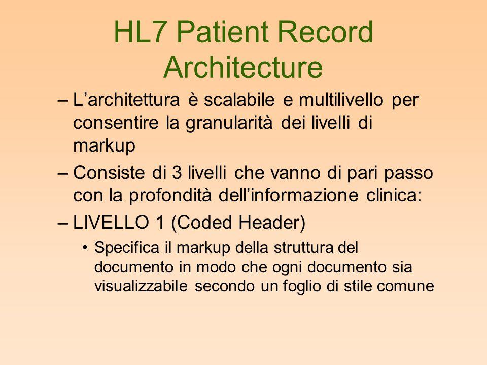 HL7 Patient Record Architecture –L'architettura è scalabile e multilivello per consentire la granularità dei livelli di markup –Consiste di 3 livelli