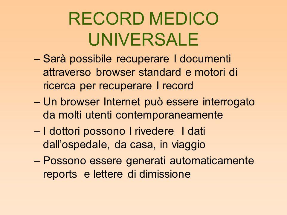 RECORD MEDICO UNIVERSALE –Sarà possibile recuperare I documenti attraverso browser standard e motori di ricerca per recuperare I record –Un browser In