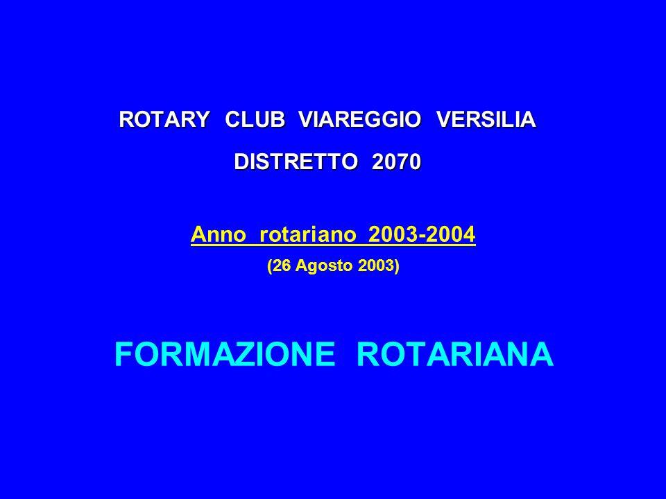 ROTARY CLUB VIAREGGIO VERSILIA DISTRETTO 2070 Anno rotariano 2003-2004 (26 Agosto 2003) FORMAZIONE ROTARIANA