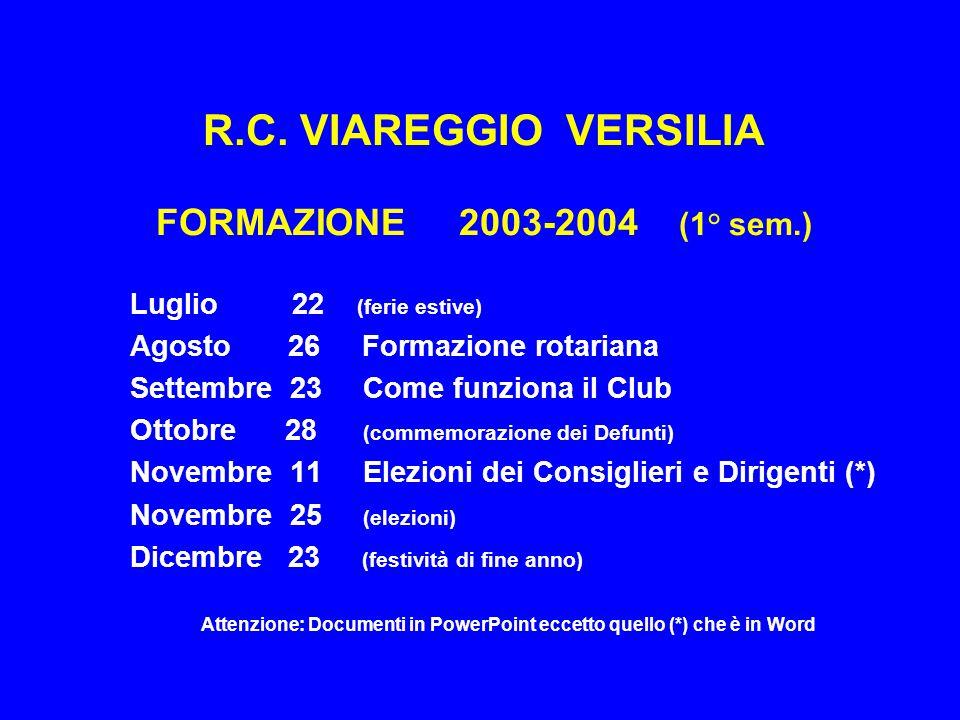 R.C. VIAREGGIO VERSILIA FORMAZIONE 2003-2004 (1° sem.) Luglio 22 (ferie estive) Agosto 26 Formazione rotariana Settembre 23 Come funziona il Club Otto