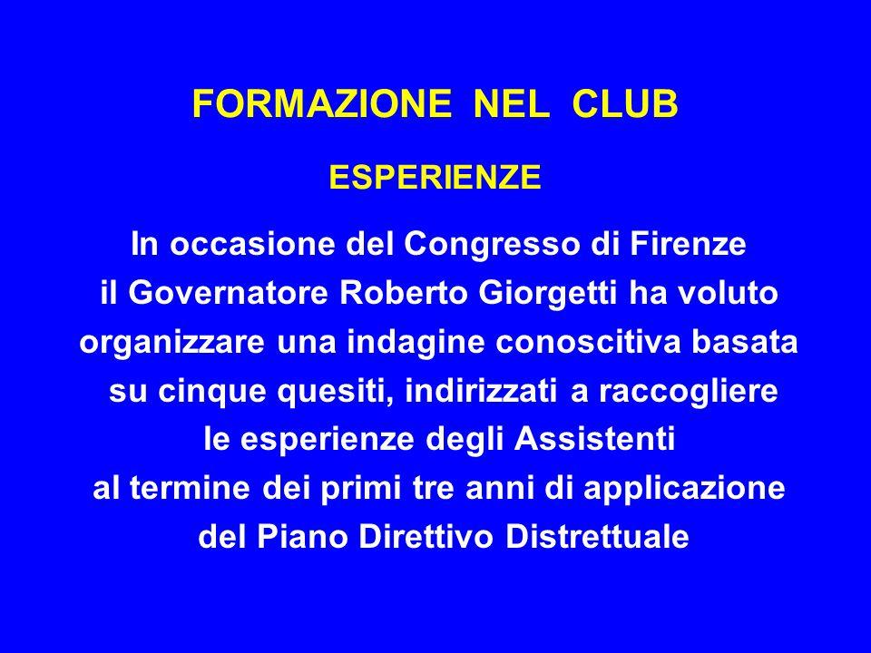 FORMAZIONE NEL CLUB ESPERIENZE In occasione del Congresso di Firenze il Governatore Roberto Giorgetti ha voluto organizzare una indagine conoscitiva b