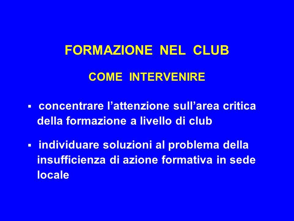 FORMAZIONE NEL CLUB COME INTERVENIRE  concentrare l'attenzione sull'area critica della formazione a livello di club  individuare soluzioni al proble