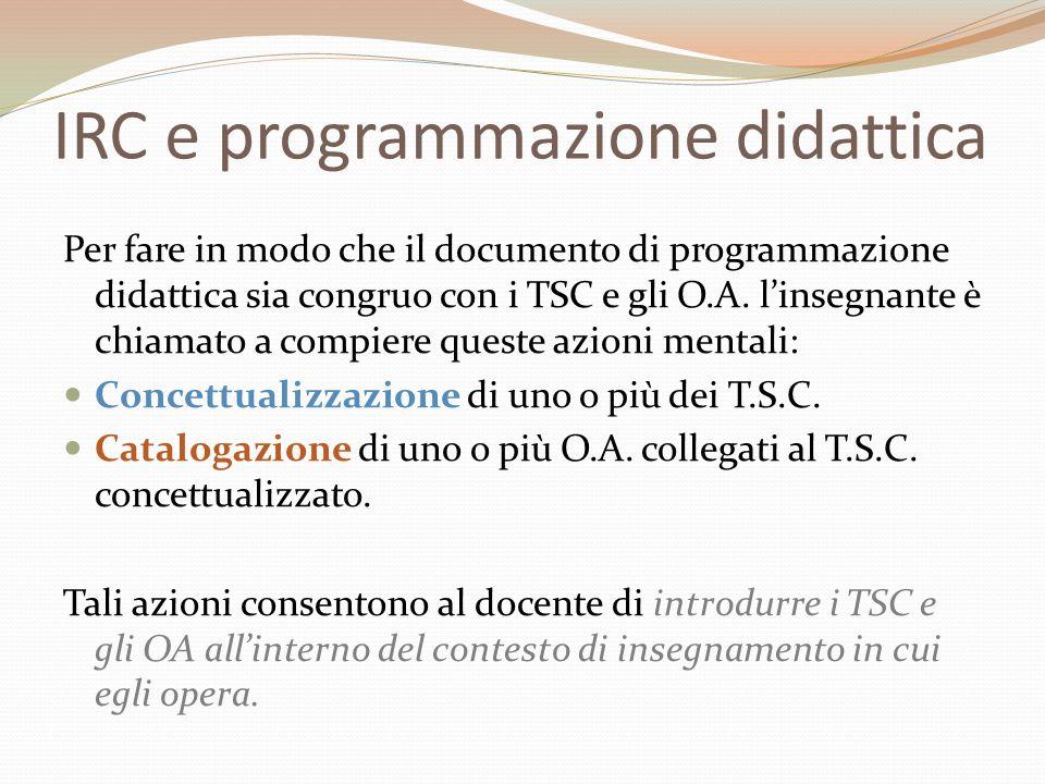 IRC e programmazione didattica Per fare in modo che il documento di programmazione didattica sia congruo con i TSC e gli O.A. l'insegnante è chiamato