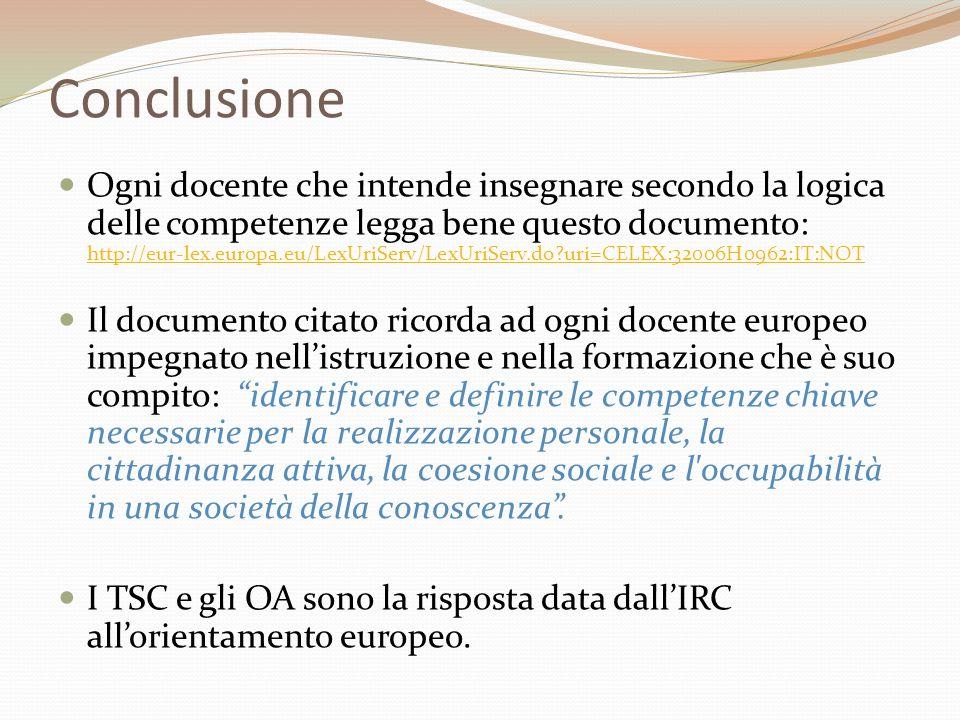 Conclusione  Ogni docente che intende insegnare secondo la logica delle competenze legga bene questo documento: http://eur-lex.europa.eu/LexUriServ/L