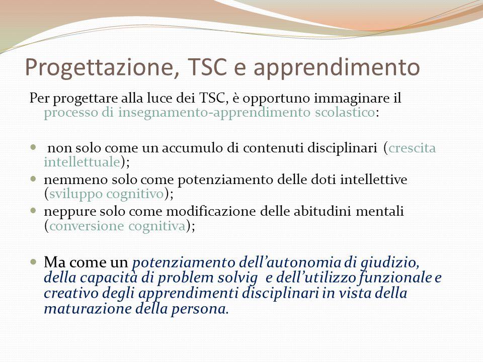 Progettazione, TSC e apprendimento Per progettare alla luce dei TSC, è opportuno immaginare il processo di insegnamento-apprendimento scolastico:  no