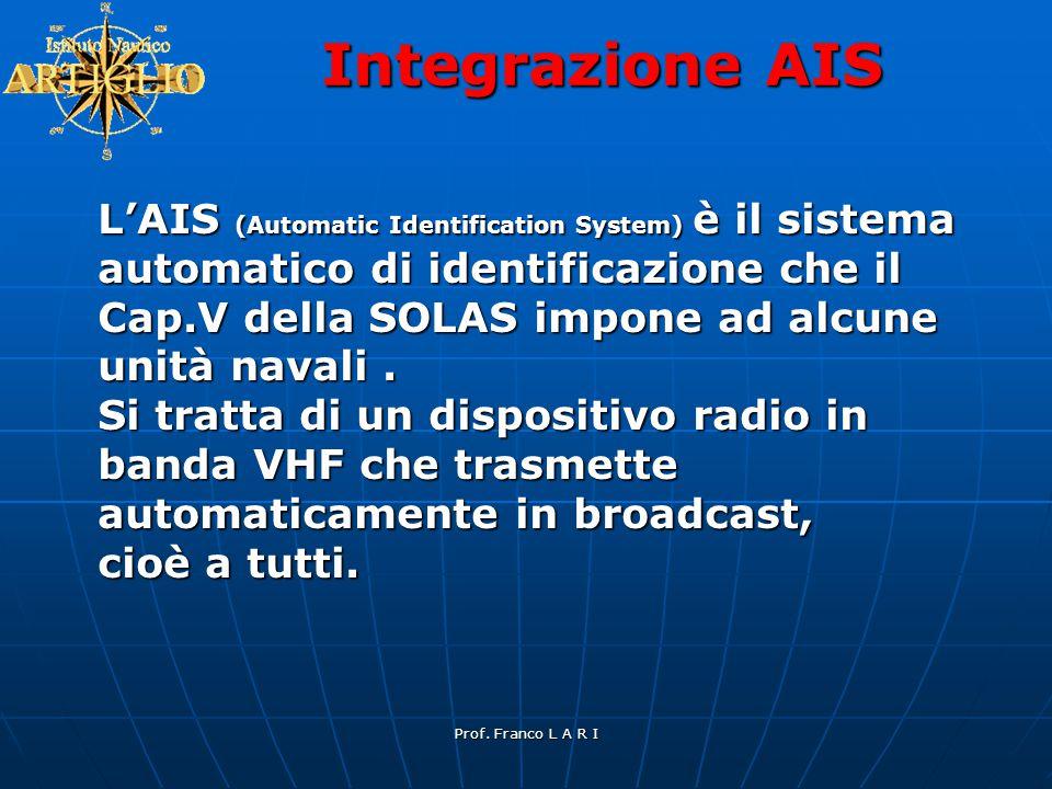 Prof. Franco L A R I Integrazione AIS L'AIS (Automatic Identification System) è il sistema automatico di identificazione che il Cap.V della SOLAS impo