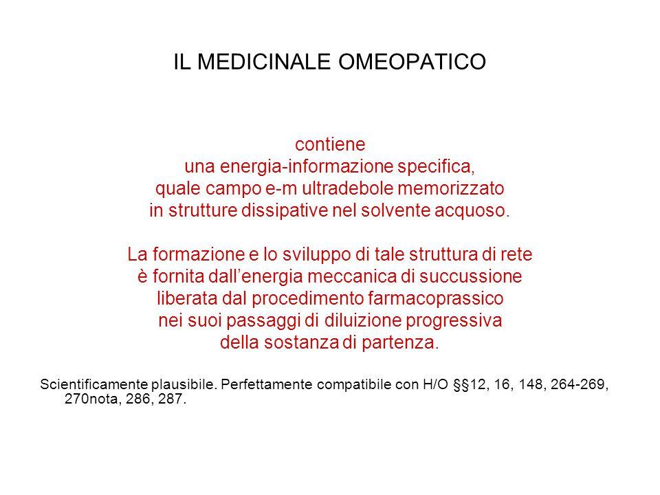 IL MEDICINALE OMEOPATICO contiene una energia-informazione specifica, quale campo e-m ultradebole memorizzato in strutture dissipative nel solvente acquoso.