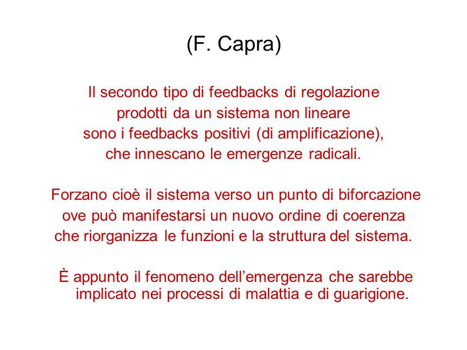 (F. Capra) Il secondo tipo di feedbacks di regolazione prodotti da un sistema non lineare sono i feedbacks positivi (di amplificazione), che innescano