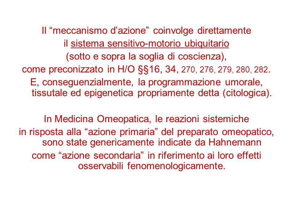 Il meccanismo d'azione coinvolge direttamente il sistema sensitivo-motorio ubiquitario (sotto e sopra la soglia di coscienza), come preconizzato in H/O §§16, 34, 270, 276, 279, 280, 282.